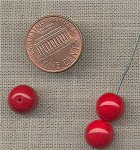 50 VINTAGE GLASS 10mm. CHERRY REDS ROUND BEADS