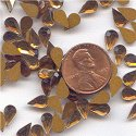 100 VINTAGE GLASS TOPAZ 8X5mm TEARDROP CABOCHONS