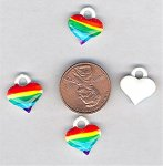 12 VINTAGE HAND PAINTED RAINBOW HEART CHARMS