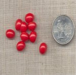 50 VINTAGE CHERRY RED 10X8mm. OVAL CABOCHONS