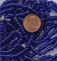 100 VINTAGE ANTIQUE GLASS SAPPHIRE 4mm TIRE BEADS