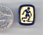 1 VINTAGE SOCCER JET GOLD GLASS RECT 18X13mm CAMEO
