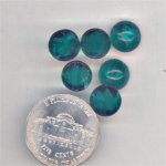 12 VINTAGE EMERALD MARBLE 9mm ROUND GLASS CABOCHONS