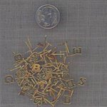 50 VINTAGE GOLD ASST LETTER PIN BACK FINDINGS