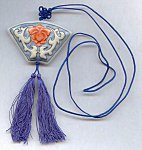 "1 VINTAGE ASIAN GLASS PENDANT BLUE CLOTH 30"" NECKLACE"