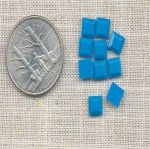 40 VINTAGE ACRYLIC TURQUOISE 6mm SQUARE PLAQUES