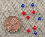 50 VINTAGE RED & BLUE 4mm. ROUND GLASS CABOCHONS