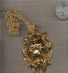 "1 VINTAGE GOLD LION PENDANT CHAIN 18"" NECKLACE"