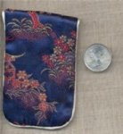 "VINTAGE BLUE SILK 3.5"" ASAIN FLORAL JEWELRY POUCH"