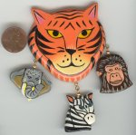 3 VINTAGE HAND PAINTED TIGER AFRICAN ANIMAL FINDINGS