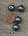 24 VINTAGE GLASS GRAY PEARL 11mm SMOOTH ROUND BEADS