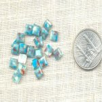 95 VINTAGE TURQUOISE MARBLE 6mm SQUARE CABOCHONS