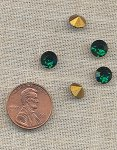 12 VINTAGE GLASS AUSTRIAN EMERALD 7mm RHINESTONES