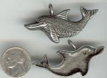 1 VINTAGE SILVER 50mm SWIMMING DOLPHIN PENDANT