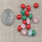 50 VINTAGE JADE & RED JASPER 10X8mm OVAL CABOCHONS