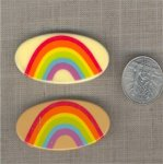 3 VINTAGE RAINBOW 53mm. OVAL CAMEO PLAQUES