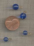 50 VINTAGE GLASS SAPPHIRE EYE PIN ROUND SMOOTH BEADS
