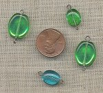 24 VINTAGE GLASS PERIDOT AQUA OVAL BEAD KIT