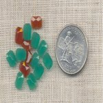 22 VINTAGE JADE CORN 8X6mm GLASS OCTAGON CABOCHON GEM JEWELS