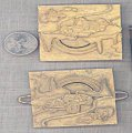 2 VINTAGE GOLD CAR RAINBOW SCENE 57mm SQUARE FINDINGS