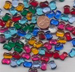 12 VINTAGE ASST. CZECH. 14X10MM BOW TIE GEM JEWELS
