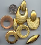 12 VINTAGE LARGE GOLD BRASS FANCY ASST FINDINGS