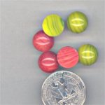 12 VINTAGE ASST DECO 11mm ROUND GLASS CABOCHONS