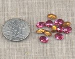 12 VINTAGE AUSTRIAN ROSE 8X6mm OVAL JEWEL GEMS