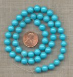 50 VINTAGE TURQUOISE ROUND SMOOTH 8mm. BEADS