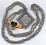 1 VINTAGE SILVER GOTHIC CRYSTAL BEADED PENDANT NECKLACE