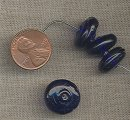 50 VINTAGE GLASS SAPPHIRE 15mm. DONUT SMOOTH BEADS c3368