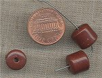 50 VINTAGE GLASS 10mm. BROWN BARELL BEADS