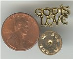 "1 VINTAGE GOLD ""GOD IS LOVE\"" PIN"