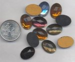 6 VINTAGE 18X13mm GLASS OVAL FACETED CABOCHONS