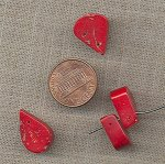 12 VINTAGE GENUINE RED CORAL DROP CHARMS