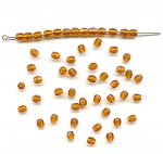 24 VINTAGE GLASS SMOKE TOPAZ 4mm. FACETED ROUND BEADS