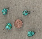 1 PAIR VINTAGE GENUINE TURQUOISE BAROQUE DROP EARRINGS