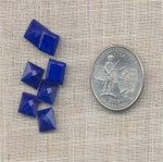 24 VINTAGE LAPIS 8mm SQUARE GLASS BACK JEWELS