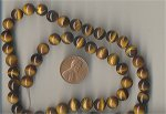 18 VINTAGE GENUINE TIGER EYE 8mm. ROUND SMOOTH BEADS