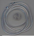 1 VINTAGE SILVER 8x2mm. SERPENTINE CHAIN NECKLACE