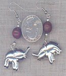1 VINTAGE SILVER GENUINE JASPER ELEPHANT EARRINGS