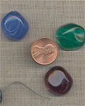 3 VINTAGE GLASS ASSORTED BAROQUE CABOCHONS