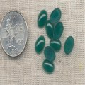50 VINTAGE EMERALD 10X8mm OVAL GLASS CABOCHONS