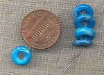 8 VINTAGE GLASS TURQUOISE MATRIX DONUT 10x3mm. BEADS