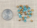 50 VINTAGE AQUAMARINE 23ss GLASS MACHINE CUT RHINESTONES