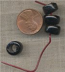 100 VINTAGE GLASS 11X7mm JET BLACK TIRE BEADS