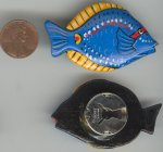 6 VINTAGE HANDPAINTED BLUE FISH BUTTON COVERS
