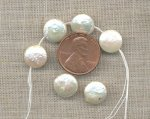 3 VINTAGE GENUINE FRESH WATER PEARL 10x5mm DISC BEADS
