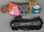 "1 VINTAGE CATS, FISHBOWL & MILK 3"" BARRETTE"