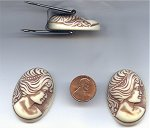 6 VINTAGE BROWN IVORY LADY HEAD PROFILE 40x30mm CAMEOS